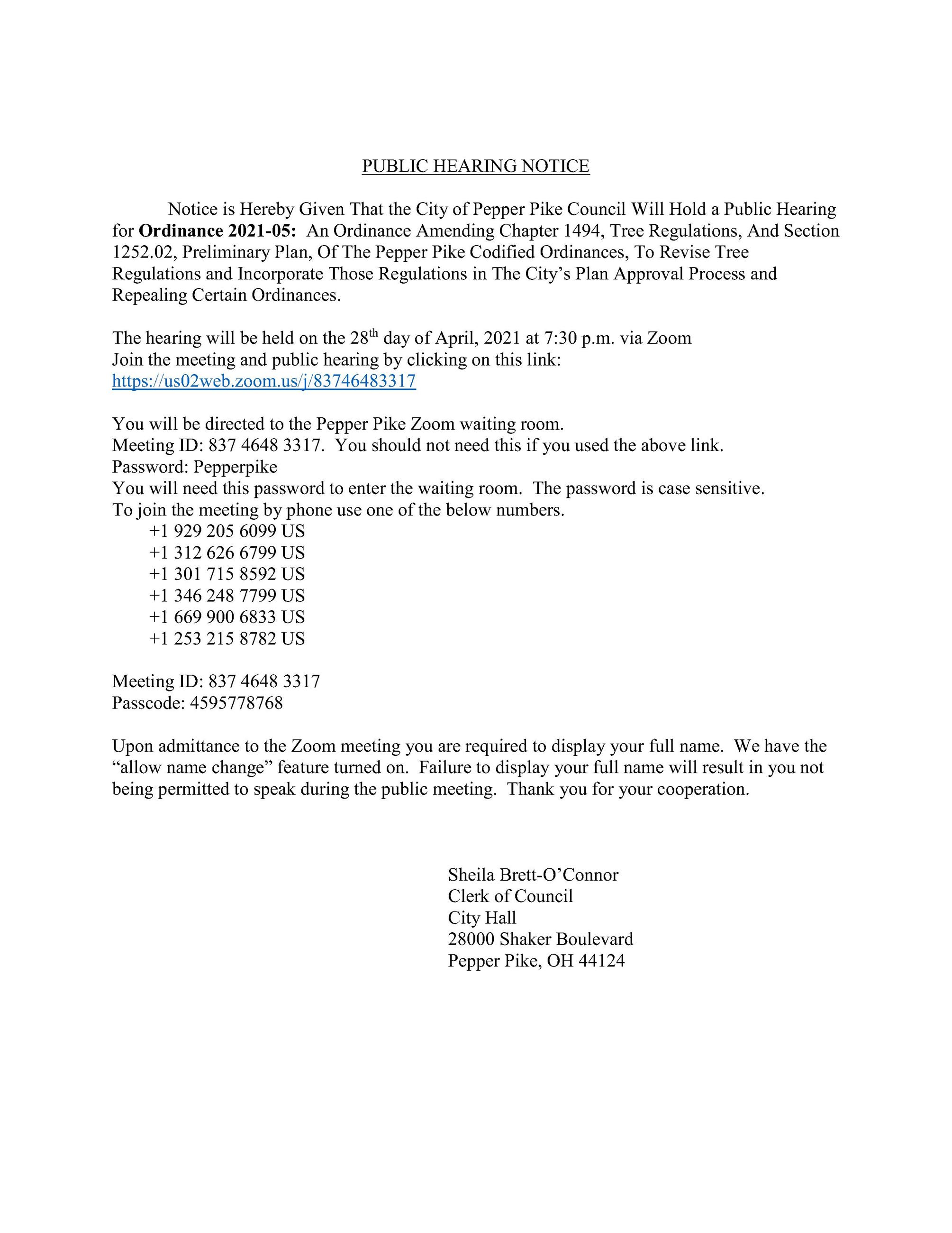 Public Hearing Notice Ord 2021-05